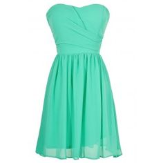 Simple and Sweet Chiffon Dress in Green