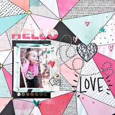Hello Love Scrapbooking layout by Heather Leopard: Crate Paper #scrapbooking #scrapbook #cratepaper
