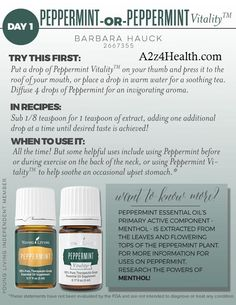Young Living Essential Oil - Day 1.     Peppermint is a key ingredient in PanAway®, AromaEase®, Aroma Siez™, Relieve It™, and Deep Relief™ Roll-On essential oil blends. #herbs  http://yldist.com/a2z4health/