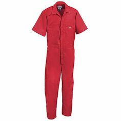 Dickies Work Uniforms Men's Red 33999 RD Poly/Cotton Short Sleeve Coveralls