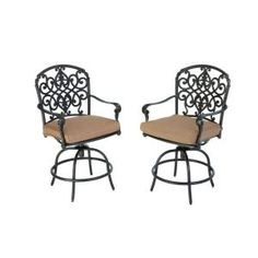Hampton Bay Edington Swivel Patio High Dining Chairs with Textured Umber Cushions (2-Pack)-131-012-BSVL-PR at The Home Depot