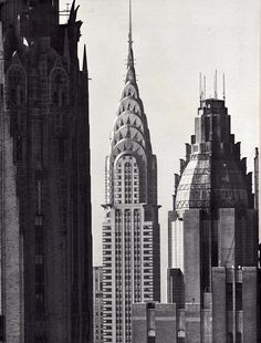 Chrysler Building between the GE Building and Waldorf Astoria Hotel, 1966, NYC