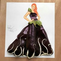 """cake,tutorial-❤️By: edgar_artis ❤️TAG a friend who will love this.Comment """"DRESS"""" letter by letter without being interrupted bellow! Arte Fashion, Paper Fashion, 3d Fashion, Flower Fashion, Fashion Illustration Sketches, Fashion Sketches, Illustrations, Veggie Art, Dress Drawing"""