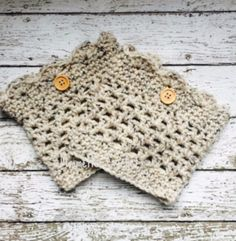 Handmade Boot Cuffs Aran Oatmeal Wood Button Leg Warmers Chunky Beige Boot Socks Calf Warmers