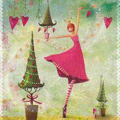 Risultati immagini per mila marquis christmas Illustration Noel, Christmas Illustration, Illustrations, Christmas Images, Christmas Art, Marie Cardouat, Decoupage, Art Carte, Heart Art