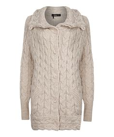 Look at this Dex Oatmeal Wool-Blend Cable-Knit Cardigan on #zulily today!
