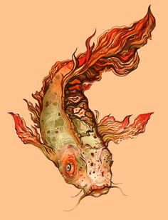 Koi Aflame // 8.5x11 Archival Print of Drawing  Description: marker drawing, red and orange, art for the home, small print, asian inspired artwork, illustration, prismacolor