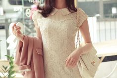Emma Vintage syle Bohemian flowers lace mini Dress simple wedding dress. $96.00, via Etsy.
