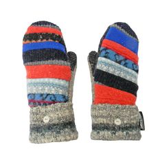 Blue and Orange Wool Mittens  Recycled Sweater by SweatyMitts #recycled #sweater #mittens
