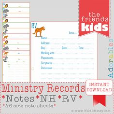 JW A6 Ministry Record Sheets - Ministry Organiser - JW.org - jw ministry - caleb sophia - pioneer service- party activities family worship by WildBB on Etsy https://www.etsy.com/listing/265752793/jw-a6-ministry-record-sheets-ministry