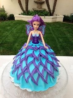 doll cake, blue and purple