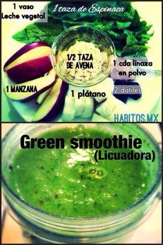 Green smoothie manzana avena platano linaza datiles
