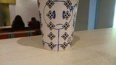Art on Cups, bardakta çizimi. Prisoner in cup. Help. Çöp adam tutsak.
