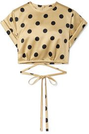 Beige and black satin Snap-fastening keyhole at back, ties at front or back polyester Machine wash or dry clean Leather Mini Dress, Leather Blazer, Satin Top, Black Satin, Polka Dot Crop Tops, Polka Dots, Victoria Beckham, Denim Trench Coat, Le Club