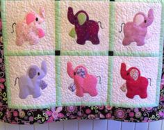 Elephant Treasures baby quilt girly girl
