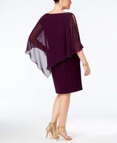 Image 2 of Xscape Plus Size Beaded Chiffon Popover Dress Purple Dress, Blue Dresses, Fancy Dress, Capelet Dress, Beaded Chiffon, Daytime Dresses, Plus Size Activewear, Review Dresses, Dresses With Leggings