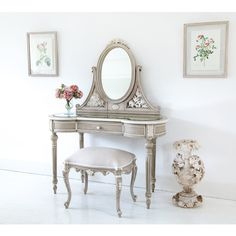 Buy the beautifully designed Amour French Dressing Table, by The French Bedroom Company. Shop 24 hours a day for Effortless Luxury Online. French Country Bedrooms, French Country Style, French Country Decorating, French Chic, Dressing Table Design, Dressing Table With Stool, Dressing Tables, Dressing Rooms, Paintings