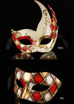 Beautiful pair of matching Venetian masquerade masks - lovely combination of Italian design!