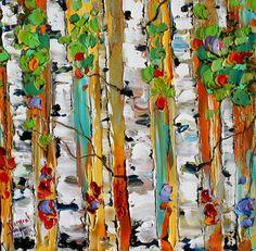 Original oil painting FALL BIRCH TREES palette by Karensfineart
