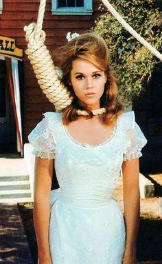 Jane Fonda in a cute retro pastel dress