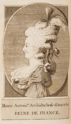 An engraving of Marie Antoinette, circa 1790-1791, from a 2 volume satirical pamphlet written against the queen.
