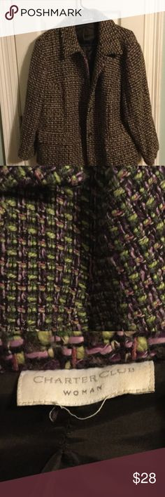 Tweed Jacket Great shape.  Size cut out. Fits like 18W Charter Club Jackets & Coats Blazers