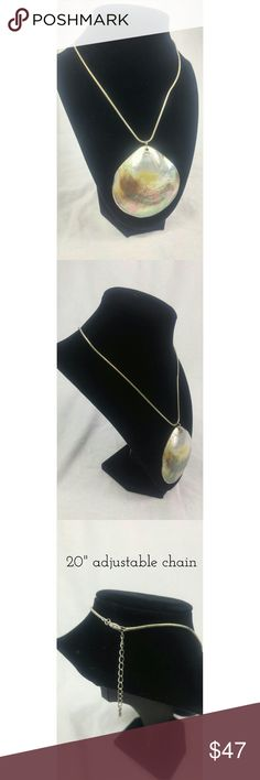 Mermaid Pearly Sea Shell Pendant Beautiful sea shell that has been rimmed with silver, on a silver snake chain. Gently worn with signs of age; vintage piece. Vintage Jewelry Necklaces