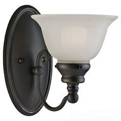 $52.00 Sea Gull Lighting 1-Light Wall Sconce in Antique Bronze Finish with Satin Etched Glass Shade.  Visit Crescent Electric Supply Company today!  www.cesco.com