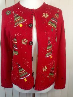 Vintage Red Christmas Sweater With Christmas Trees, and Snow Flakes, Trimmed with Beads and Ribbon, by Studio Joy, Petite Extra Large by Oldtonewjewels on Etsy