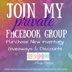 Join to see new LuLaRoe inventory first! Contact me to learn about joining my team at lularoesharobrowne@gmail.com