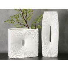 Jarrón moderno cerámica blanco 26 cm en Nuryba.com tu tienda de muebles y decoracion online