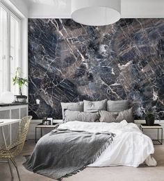 This simple shapes marble wall art wallpaper spruces up any space + looks oh so luxurious.
