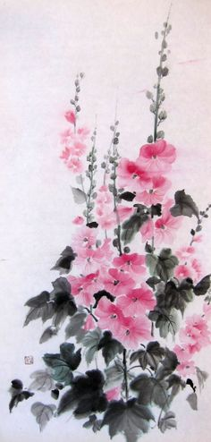 "Original  Japanese Ink Painting Rice Paper Sumi-e Suibokuga Large painting 13 x 27 inch Pink Floral  ""Hollyhock"""