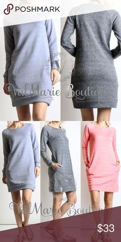 "Heather Grey Sweatshirt Dress with Pockets THIS LISTING IS FOR HEATHER GREY WHICH IS THE COLOR ON THE LEFT SIDE OF THE FIRST PICTURE STUNNING FRENCH TERRY RAGLAN SLEEVE SWEATSHIRT DRESS TOTAL LENGTH: 34"" for small, 34.5"" Med, 35"" large 70% COTTON, 30% POLYESTER - cold water wash, lay flat to dry. S(2-4) M(6-8) L(10-12) - price firm unless bundled. Others selling for $45, get them here for less! I have other colors in stock. Check other listings to see. ValMarie Boutique Dresses"