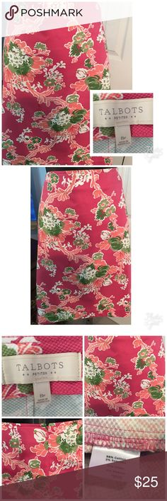 """Talbots Petite Skirt Beautiful floral print. Zipper in the back. Small slit in the back. Excellent condition. Measures 31"""" in the waist and 21"""" in the length. Talbots Skirts Midi"""