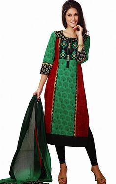 Picture of Gorgeous Red, Black and Green Color Salwar Kameez