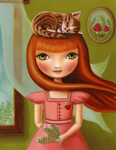 Oil painting print Girl and Tabby cat art print LARGE print 11x14 on premium matte - woodland pop surrealism - Abigail- by Marisol Spoon