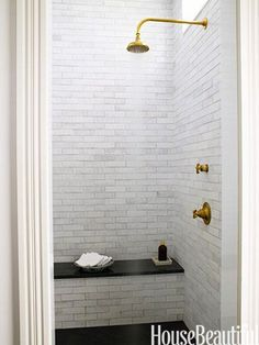 Grove Brickworks tile and Henry showerhead
