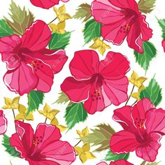 18564162-Floral-seamless-pattern-with-hibiscus-hand-drawing-Vector-illustration--Stock-Vector.jpg (1300×1300)