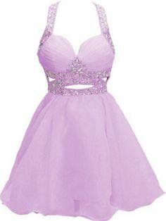 Kurz Chiffon Abschlusskleider Abiballkleider in lila
