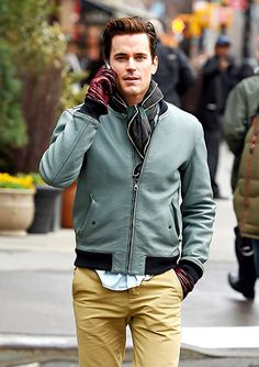Matt Bomer — set to star alongside Lady Gaga and others in American Horror Story: Hotel on FX — chatted handsomely on his phone in NYC's Tribeca March 31.