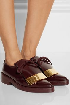 Marni - Embellished polished-leather point-toe lace-ups Boy Meets Girl, Malene Birger, Pumps, Heels, Leather And Lace, Me Too Shoes, Feminine, Lace Up, Loafers