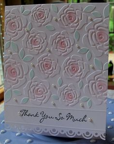 What a pretty way to bring your embossed images to life - use chalk to lightly shade the raised features.  Here roses take the stage on this handmade thank you card, with a unique scalloped edge on the bottom.
