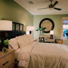 Bedroom Green, Dark Brown, White. Love this scheme for my bedroom... Maybe?