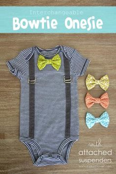 20 Adorable DIY Baby Clothes: Save money by making DIY baby clothes such as leather shoes, dresses, onesies, hats, slippers, leggings and much more.: DIY Interchangeable Bow Tie Onesie