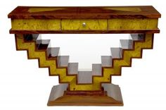 1920s Art Deco Console Table Hall Table Marquetry Inlay. @designerwallace