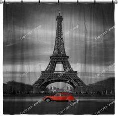 Tour Eiffel Et Voiture Rouge  Paris Shower Curtain Only At Http://www