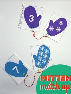 So cute! FREE mitten number match up. Match the number to the snowflakes. Free winter game for kids.