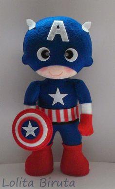 Capitão América em feltro para decoração de festas