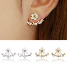 Cute Daisy Flower Crystal 925 Silver Needle Ear Stud Earrings For Women at Banggood